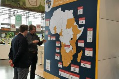 The map of Africa and the exhibitors at the Pavilion in 2020
