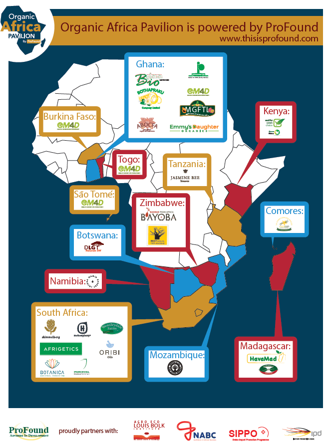 Africa map of the Organic Africa Pavilion 2019