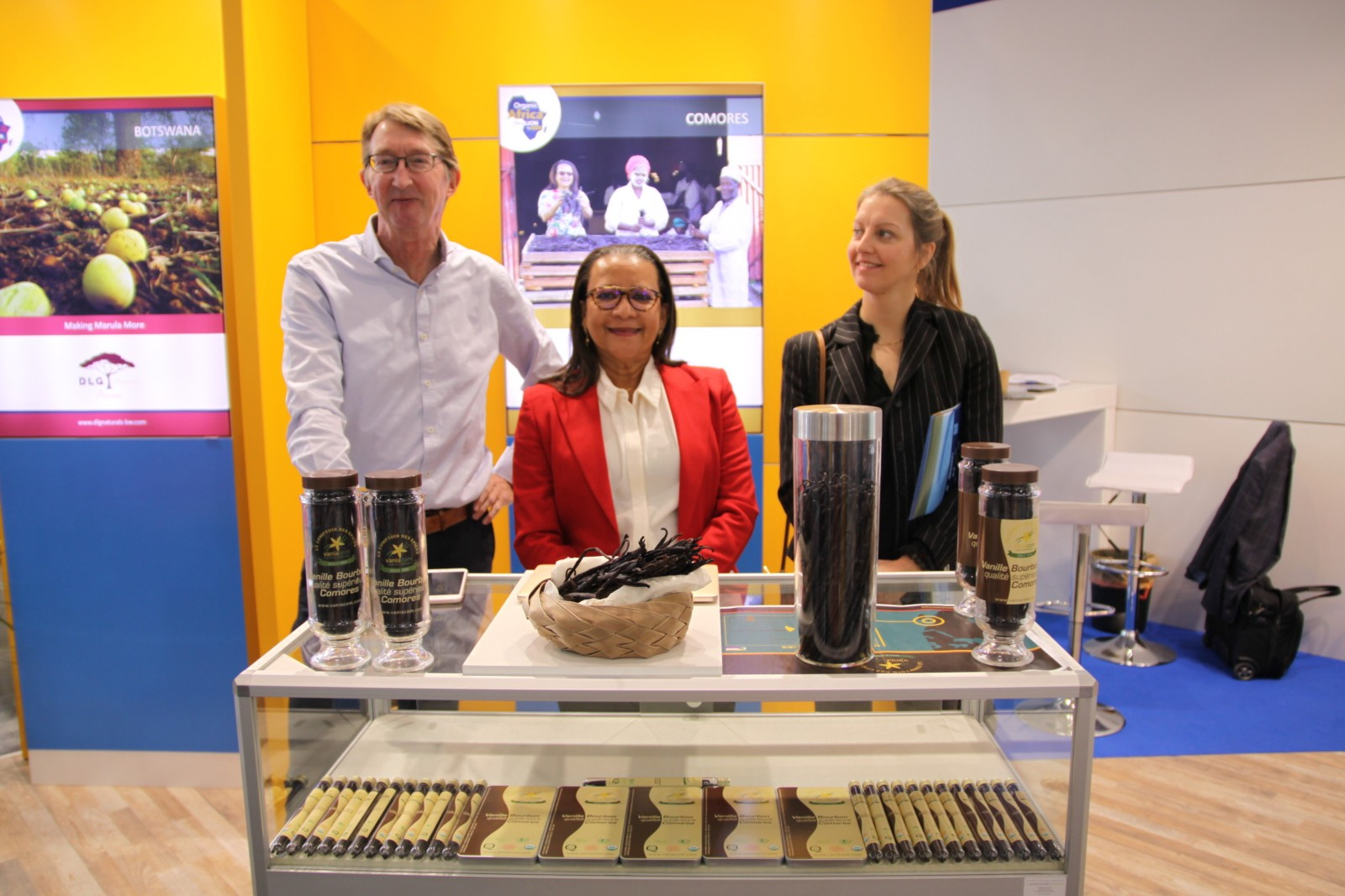 BertJan Ottens and Geertje Otten at BioFach with an African exhibitor at the Organic Pavilion